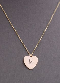 Heart Shape 14k Gold Personalized Necklace Tag Initial Necklace Pendant