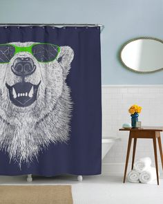 Polar Bear In Sunglasses Shower Curtain | CrazyDog T-shirts