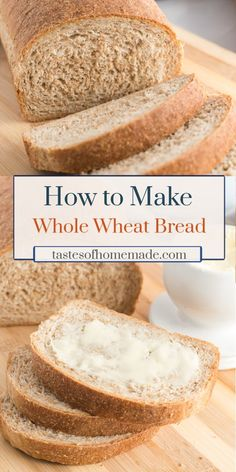 How to make homemade whole wheat bread! This is an easy recipe using simple ingredients. Two perfect loaves of bread that are just right for sandwiches or toast. Savoury Baking, Bread Baking, Yeast Bread, Brown Bread Recipe, Simple Wheat Bread Recipe, Croissants, Bagels, Easy Bread Recipes, Cornbread Recipes