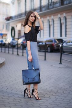 Grey suede pencil skirt and lace up heels