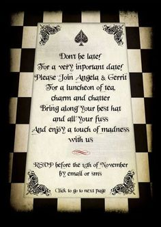 Wedding at Le Manoir de Brendel {Angela & Gerrit} red black and white alice in wonderland wedding Alice In Wonderland Wedding Theme, Alice In Wonderland Invitations, Wonderland Party, Wonderland Alice, Mad Hatter Party, Mad Hatter Tea, Mad Hatters, Birthday Dinner Invitation, Wedding Invitations