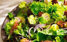 Šalát so salámou Lidl, Seaweed Salad, Lettuce, Sprouts, Spinach, Recipies, Snacks, Vegetables, Ethnic Recipes