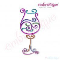 Curly Wine Glass 3 Embroidery Design by Embroitique on Etsy, $2.99