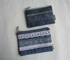 Denim makeup bags pouches Rock Grunge Distressed by BukiBuki