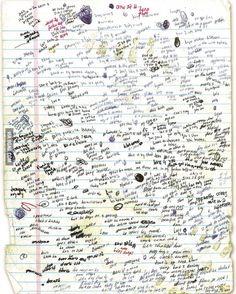 Eminem's hand written lyrics for Lose Yourself