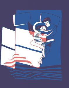 Illustration of a couple lying in bed