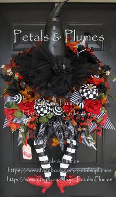 """PRE-ORDER for """"2016""""Delivery-Halloween Witch Wreath-""""Wicked Witch w/ Ruby Red Shoes"""" Petals & Plumes ORIGINAL Design(See Production time)"""