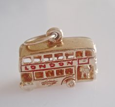 Vintage 9ct gold enamelled Route Master double decker London bus - maker ZLd London, Year 1971