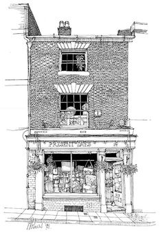 Hanging pot plants This shop is housed in a Georgian fronted three-storey building that dates back to before the century Great Fire of Warwick. It is old and wonky with nooks and crannies and odd little corners and beams. Building Illustration, House Illustration, Building Sketch, Building Drawing, Victorian Windows, Travel Sketchbook, House Drawing, A Level Art, Urban Sketchers