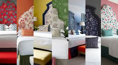 Haymarket Hotel, Soho Hotel, Orange Rooms, Striped Curtains, Bed Cushions, Collage Design, Rainbow Colors, Furniture, Bedrooms