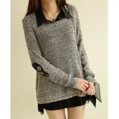 Trendy Style Scoop Collar Long Sleeve Color Block with Scarf Women's SweaterSweaters & Cardigans | RoseGal.com