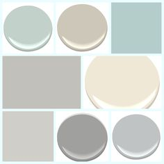 My final palette... Top row: Palladian Blue (Benjamin Moore HC-144) Revere Pewter (Benjamin Moore HC-172) Watery (Sherwin Williams SW6578) Middle Row Light French Gray (SW0055) Navajo White (Benjamin Moore OC-95) Bottom Row On The Rocks (SW7671) Storm (Benjamin Moore AF-700) Eternity (Benjamin Moore AF-695)