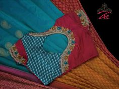 Sky blue and red saree with brocade blouse