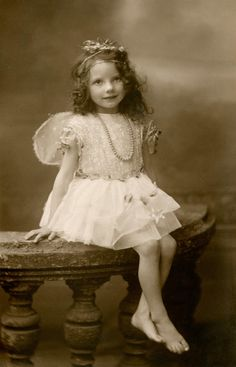 +~+~ Vintage Photograph ~+~+  Adorable girl named Eileen Brock wearing a fairy costume. ca 1920.  V & A Museum.