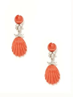 Piranesi Marquise Diamond & Carved Red Coral Seashell Earrings