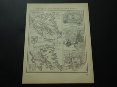 Old vintage map of Greece Olympia Athens Akropolis 1950 Dutch retro by DecorativePrints