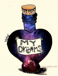"""KNS: my dreams; somewhere or something like this. I like vintage perfume bottles and potions and stuff so this is perf. Less """"drawn"""" / """"artsy"""" though."""