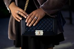 Chanel Boy Bag with Gold Hardware and a Velvet Blazer