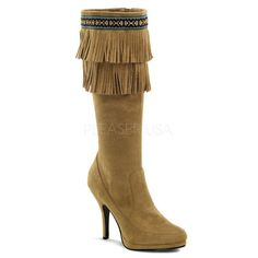 Indian Knee High Fringe Boot $59.95 Tan Microfiber.  4 1/2 in. Heel, 1/2 in. Platform. Goes great with a sexy indian Halloween costume. Halloween costumes shoes