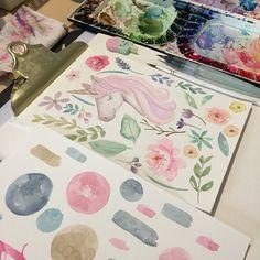 https://www.etsy.com/shop/LagartixaShop?ref=seller-platform-mcnav #unicorn #floral #watercolor
