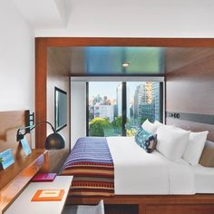 For this week's #idpicks contest, we want to see your best images of small spaces! Tag your images and our editors will post their favorites on Instagram and InteriorDesign.net next Wednesday. Pictured here, king-size beds fill almost half of the 150-square-foot guest rooms inside @AvroKO's Arlo Hudson Square in New York. : Eric Laignel. @sandow... - Interior Design Ideas, Interior Decor and Designs, Home Design Inspiration, Room Design Ideas, Interior Decorating, Furniture And Accessories