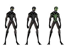 And finally here's a few colour variations to provide a black-suit alternative to the more traditional colours - both a Venom like colouration, and a Neon version to resemble a suit he wore more re...
