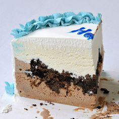 Carvel Ice Cream Cake Slice layer of chocolate ice cream, choco crunchies made with home made magic shell & oreo crumbs, then a layer of vanilla and  frosted stabilized whipped cream frosting.