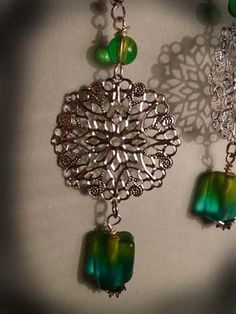 Lacy Silver Boho earrings with 2 shades of by KimsKreationsNC, $18.00