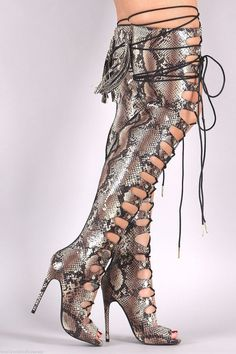 7b953aee8e12 Totally Wicked Footwear · Products · Nelly Maneater Beige Snake Open  Adjustable Lace Up Thigh High Boots - 4.75