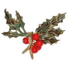 Hattie Carnegie Signed Holly & Berries Sprig Christmas Pin...classic!