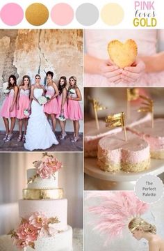 Pink/peach and gold color palette