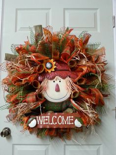 Fall Mesh Wreath,Autumn Wreath,Welcome Mesh Wreath,Scarecrow Door Wreath,Fall Front Door Wreath,Mesh Wreath by CherylsCrafts1 on Etsy