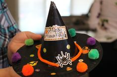 Fall Fun: #Kids Crafts - A witches hat made from a recycled party hat and a paper plate - Crafted by Mommy Blogger, Anne Caminiti #FallFun #Halloween #Crafts #LongIsland