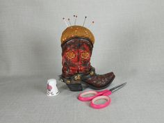 Pincushion Cowboy Boot Stars and Swirls by NicuNeedles on Etsy, $8.99