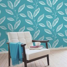 Aubrey Aqua Modern Leaf Trail - Decorative Wall Paper