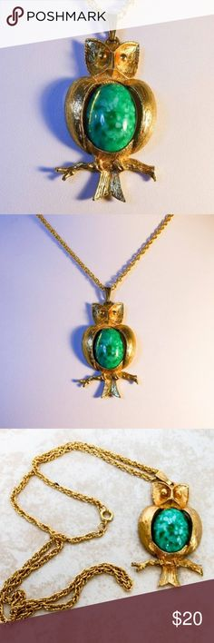 Vintage Gold Turquoise Owl Charm Pendant Necklace Vintage Gold Mottled Blue Jelly Belly Owl Pendant Necklace 24 Inch pendant measures 2 1/2 by 1 1/2 inches, chain secures with spring clasp excellent vintage condition Gold tone, Jelly belly style necklace Jewelry Necklaces