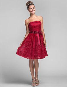 Brautjungfer Kleid knielangen Spitze eine Linie Prinzessin trägerlosen Kleid…