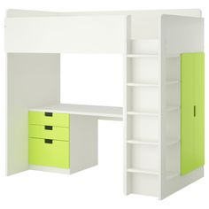 STUVA Loft bed with 3 drawers/2 doors - white/green - IKEA