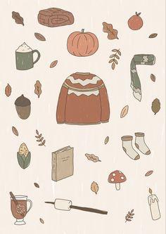 Cute Fall Wallpaper, 4 Wallpaper, Aesthetic Iphone Wallpaper, Pattern Wallpaper, Wallpaper Backgrounds, Autumn Cosy, Autumn Fall, Fall Background, Autumn Illustration