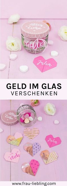 DIY Geschenk im Glas: Origami Herzen aus Geldscheinen You want to quickly and easily craft a DIY gift and find money to give away dreary? Not if you fold the bills into cool origami hearts and pack th Origami Diy, Cute Origami, Origami Folding, Money Origami, Paper Folding, Best Friend Gifts, Gifts For Friends, Best Gifts, Birthday Presents