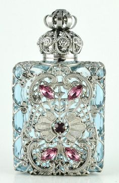 Perfume Bottle Vintage Vanity Light Violet Silver Tone Filigree Purple Crystal