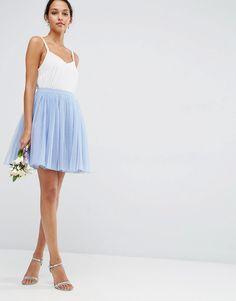Image 1 ofASOS WEDDING Tulle Mini Prom Skirt with Multi Layers