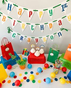 Items similar to Let's Have a Ball Birthday Party Decorations*Primary Colors Birthday*Colorful Birthday Party*Rainbow Birthday Decorations*birthday banner on Etsy Ball Theme Birthday, Rainbow Birthday Decorations, Baseball First Birthday, Colorful Birthday Party, Ball Birthday Parties, My Son Birthday, Happy Birthday Banners, Ball Decorations, Party Favor Tags