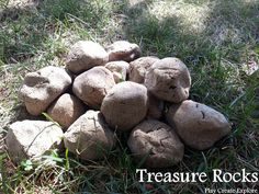 Treasure Rocks made with coffee dough. Trinkets and toys can be molded inside and then dough is baked to harden.  They look and feel like rocks but when broken open, reveal prize inside