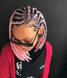 New Short Bob Braids Hairstyles and Haircuts for Women 2020 Bob Box Braids Hairstyles Of 98 Inspirational New Short Bob Braids Hairstyles and Haircuts for Women 2020 Black Girl Braids, Braids For Black Hair, Girls Braids, Side Braids, Braids On Natural Hair, Black Women Braids, White Girl Cornrows, Pink Box Braids, Braids In A Bun