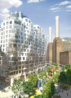"""Image 1 of 10 from gallery of New Images Released of Foster and Gehry's Battersea Power Station Designs. Gehry Partners' """"Prospect Place"""" Building, with Prospect Park Below. Image Courtesy of Battersea Power Station Unique Buildings, Garden Buildings, Amazing Architecture, Art And Architecture, Architecture Wallpaper, Chinese Architecture, Battersea Power Station, Foster Partners, Frank Gehry"""