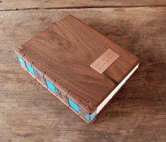 wedding guest book with black walnut wood by ThreeTreesBindery, $180.00