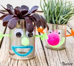 Make these easy Earth Day Recycled Tin Can Planters with your kids to show them the importance of recycling! Kids Crafts, Recycled Crafts Kids, Tin Can Crafts, Craft Projects, Eco Craft, Project Ideas, Earth Day Projects, Earth Day Crafts, Earth Day Activities
