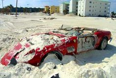 """Hope this isnt true 1961 Ferrari 250 GT California Spyder - more of a """"beach find"""" than a """"barn find""""! (this $11m beauty was wrecked in a hurricane)."""