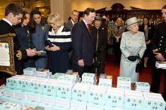 Queen Elizabeth II, The Duchess of Cornwall and the Duchess of Cambridge at Fortnum and Mason. Hunted a certain tea down for my mother at this beautiful flagship <3